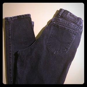 Vtg LEE High Waist Black Stonewashed Jeans 12 L